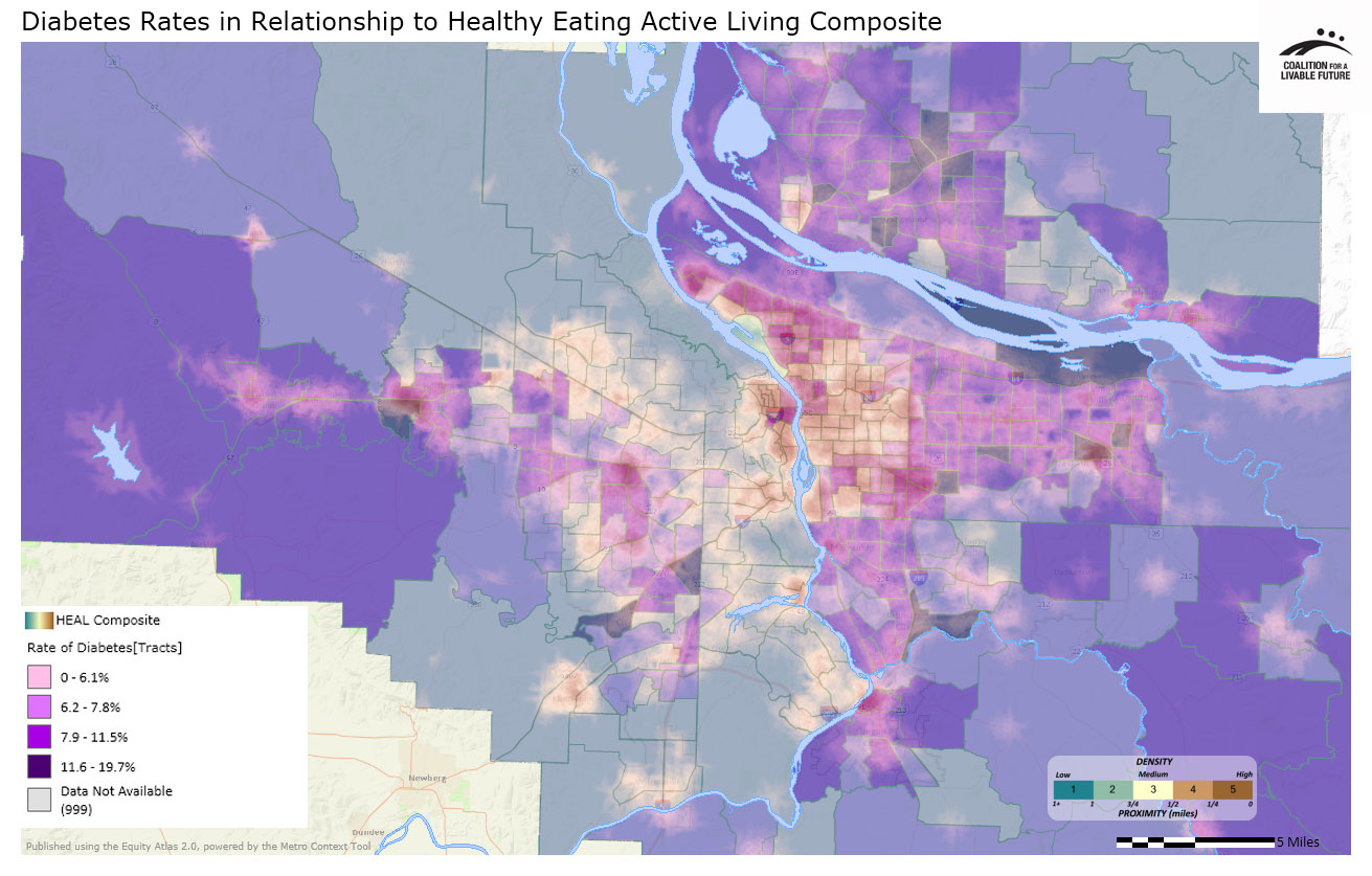 Diabetes Rates in Relationship to Healthy Eating Active Living Composite