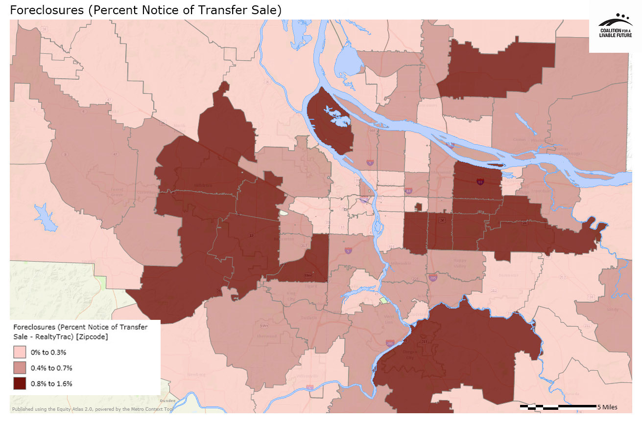 Foreclosures (Percent Notice of Transfer Sale)