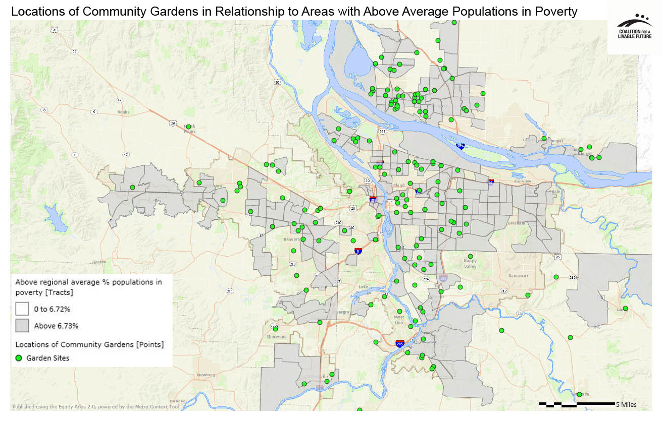 Locations of Community Gardens in Relationship to Areas with Above Regional Average Percent Populations in Poverty