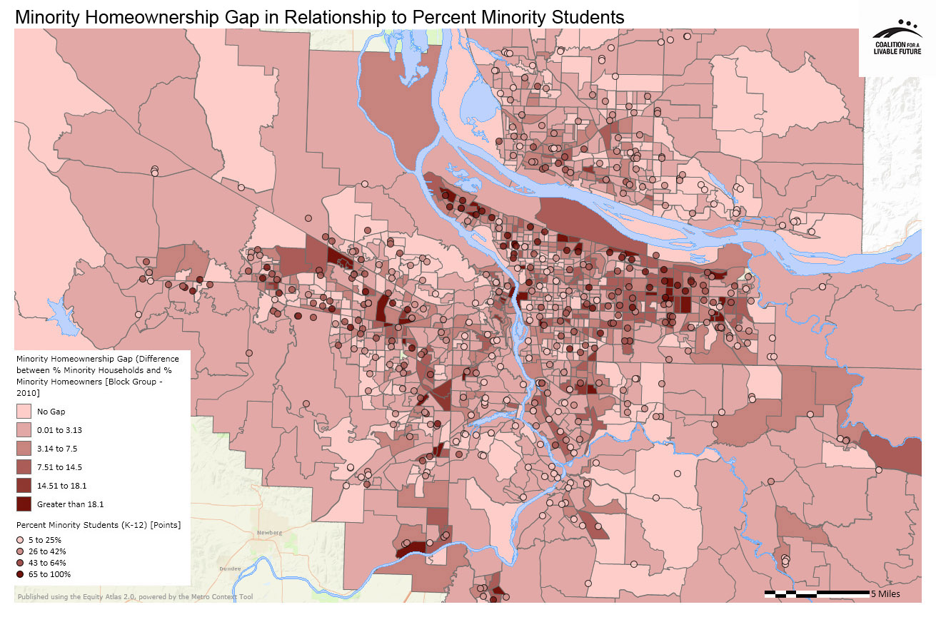 Minority Home Ownership Gap in Relationship to Percent Minority Students