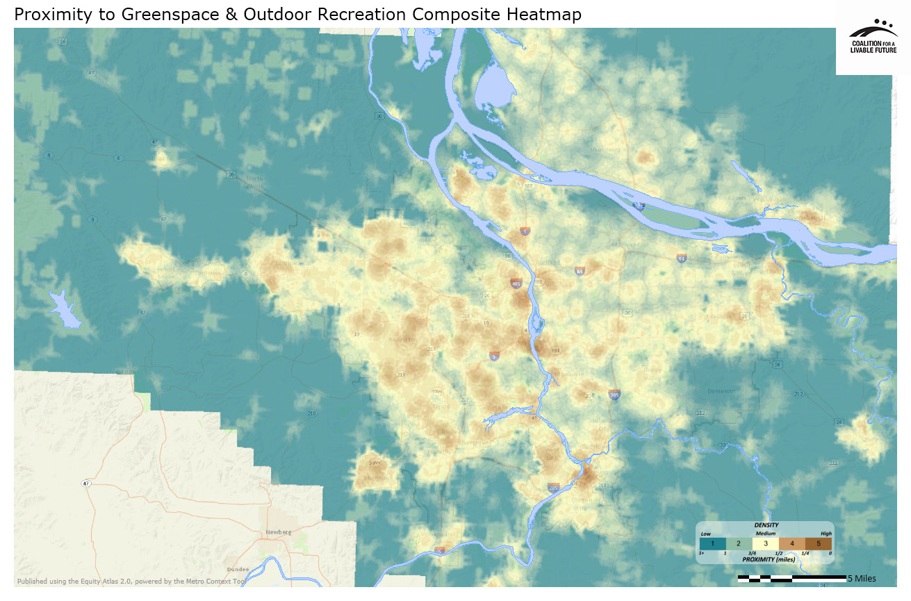 Proximity to Greenspace and Outdoor Recreation Composite Heatmap