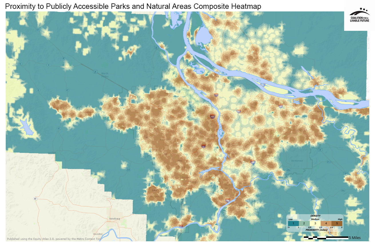 Proximity to Publicly Accessible Parks and Natural Areas Composite Heatmap