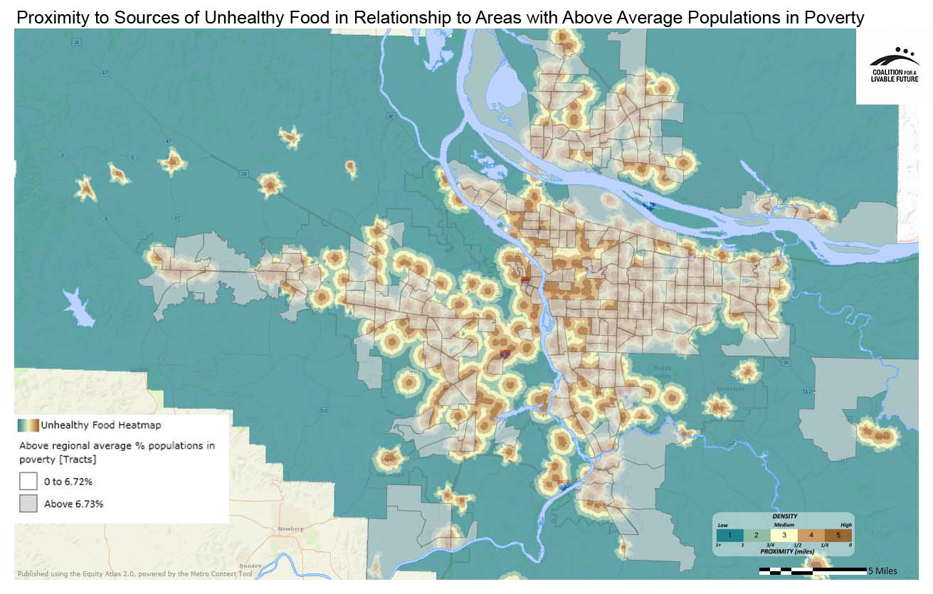 Proximity to Typical Sources of Unhealthy Foods in Relationship to Areas with Above Regional Average Percent Populations in Poverty