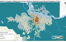 Pedestrian Composite in Relationship to Areas with Above Regional Average Percent Populations of Color
