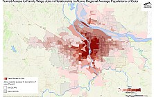 Transit Access to Family Wage Jobs in Relationship to Areas with Above Regional Average Percent Populations of Color
